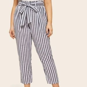 Blue & white paperbag belted pants (size 2XL)